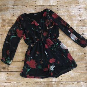 Express Black Floral Long Sleeve Romper M